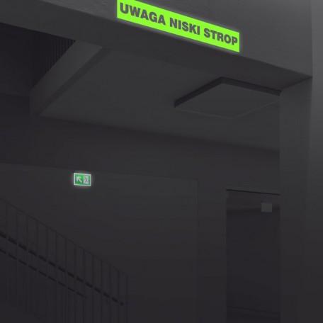 Znak ewakuacyjny UWAGA niski strop 2