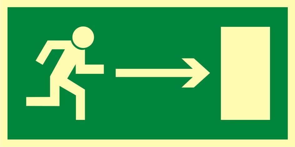 Znak ewakuacyjny Kierunek do wyjścia drogi ewakuacyjnej w prawo