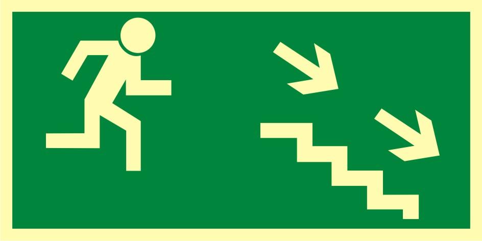Znak ewakuacyjny Kierunek do wyjścia drogi ewakuacyjnej schodami w dół w prawo