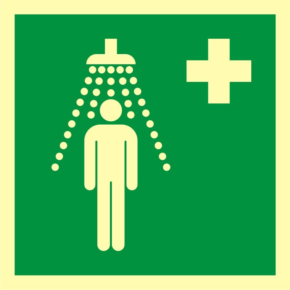 Znak ewakuacyjny Prysznic bezpieczeństwa