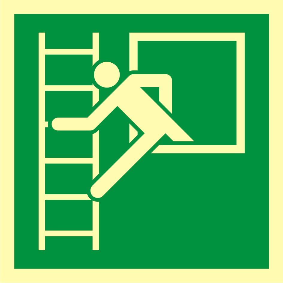 Znak ewakuacyjny Okno ewakuacyjne z drabiną ewakuacyjną
