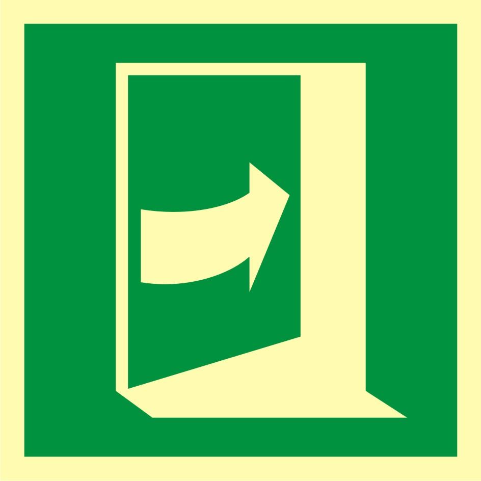 Znak ewakuacyjny Pchać aby otworzyć drzwi (prawe)