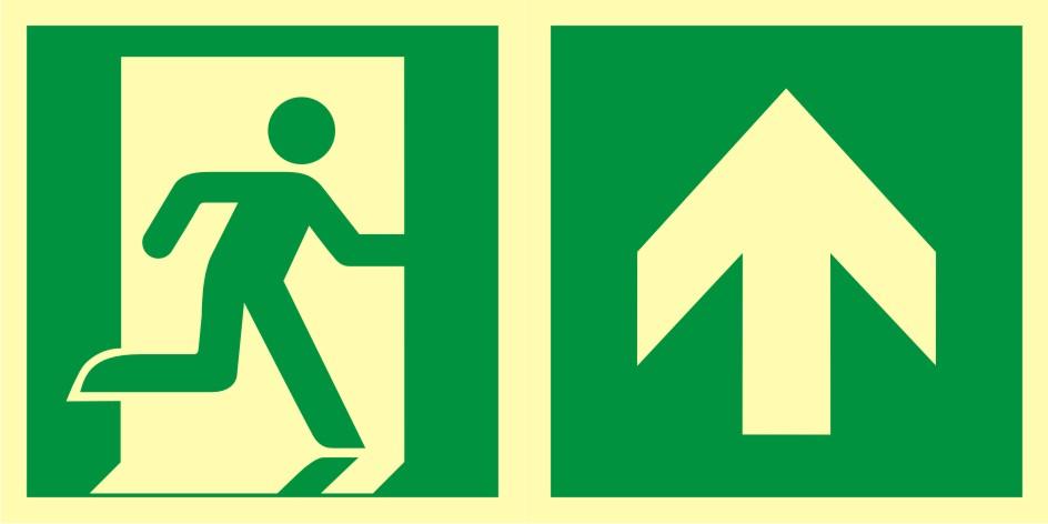 Znak ewakuacyjny Kierunek do wyjścia ewakuacyjnego - w górę (prawostronny)