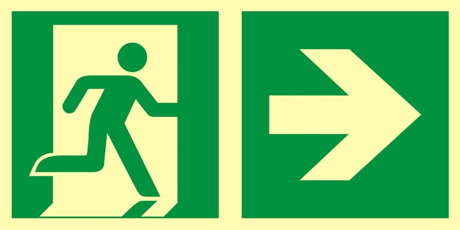Znak ewakuacyjny Kierunek do wyjścia ewakuacyjnego - w prawo