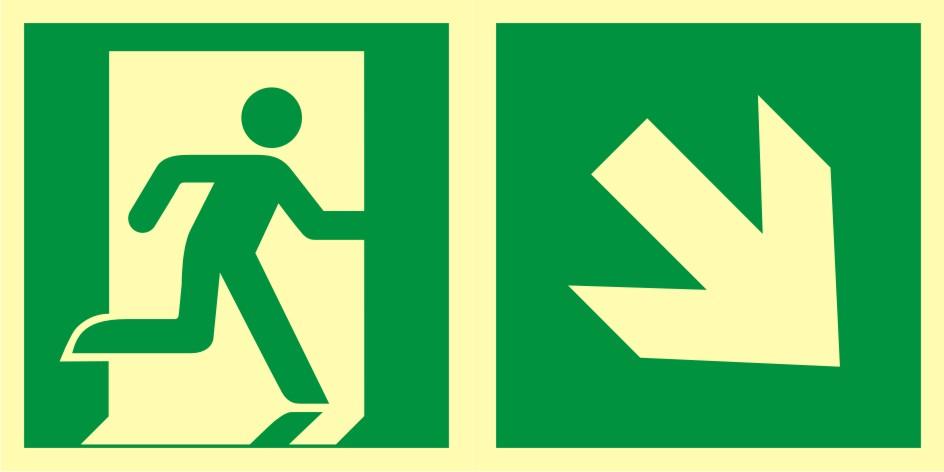 Znak ewakuacyjny Kierunek do wyjścia ewakuacyjnego - w dół w prawo