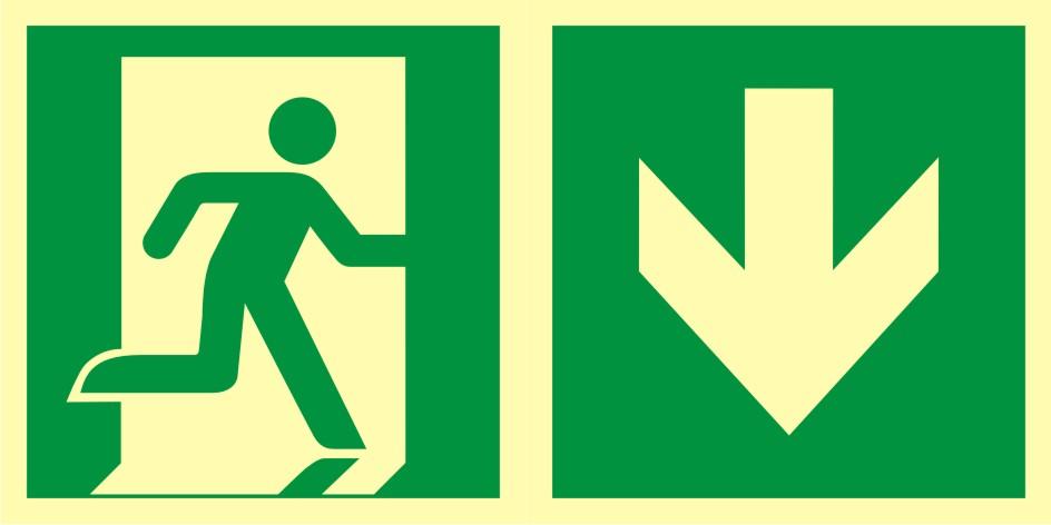 Znak ewakuacyjny Kierunek do wyjścia ewakuacyjnego - w dół (prawostronny)