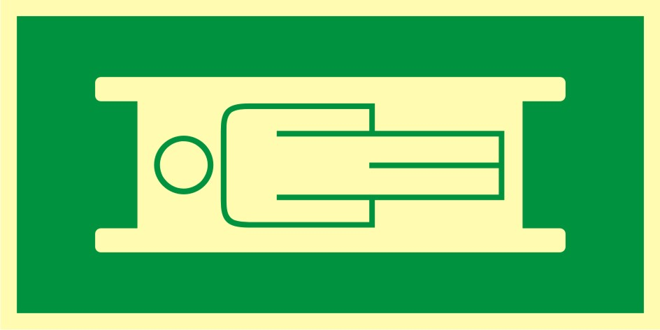 Znak ewakuacyjny Miejsce składowania noszy