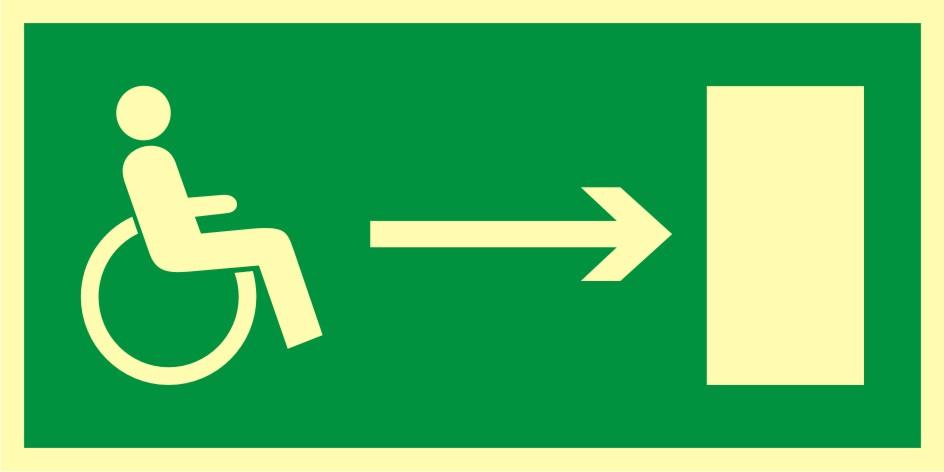 Znak ewakuacyjny Kierunek do wyjścia drogi ewakuacyjnej dla niepełnosprawnych w prawo