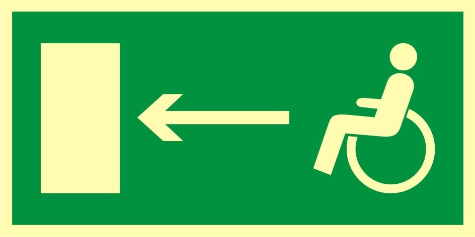 Znak ewakuacyjny Kierunek do wyjścia drogi ewakuacyjnej dla niepełnosprawnych w lewo