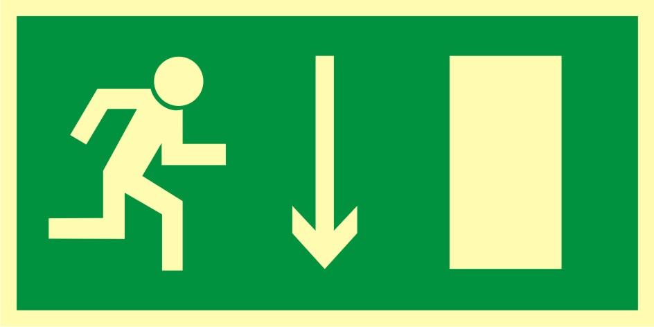 Znak ewakuacyjny Kierunek do wyjścia drogi ewakuacyjnej w dół