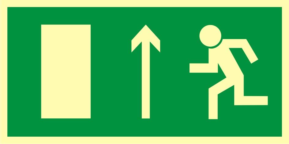 Znak ewakuacyjny Kierunek do wyjścia drogi ewakuacyjnej w górę