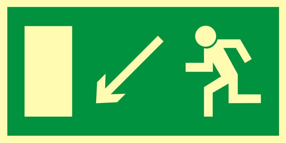 Znak ewakuacyjny Kierunek do wyjścia drogi ewakuacyjnej w dół w lewo