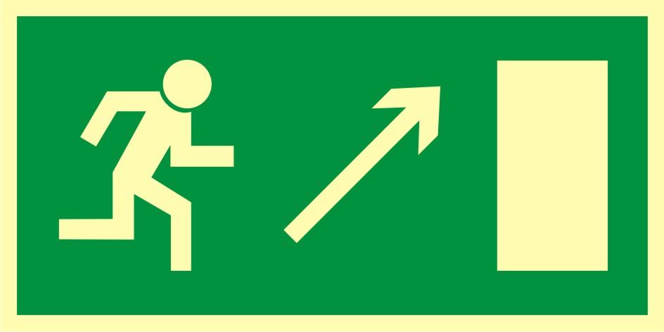 Znak ewakuacyjny Kierunek do wyjścia drogi ewakuacyjnej w górę w prawo