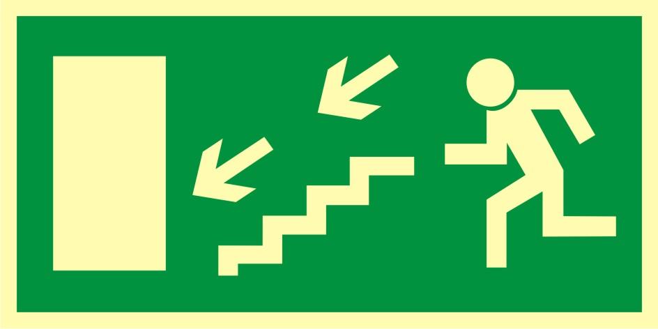 Znak ewakuacyjny Kierunek do wyjścia drogi ewakuacyjnej schodami w dół w lewo 2