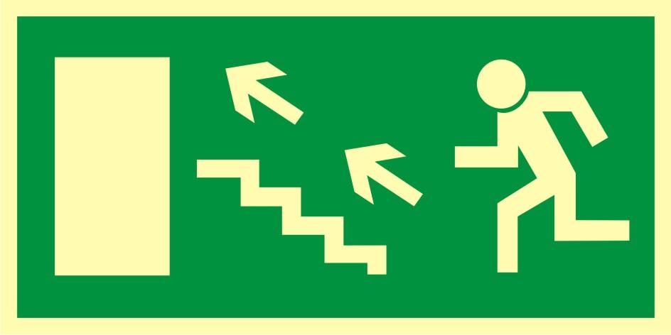 Znak ewakuacyjny Kierunek do wyjścia drogi ewakuacyjnej schodami w górę w lewo 2