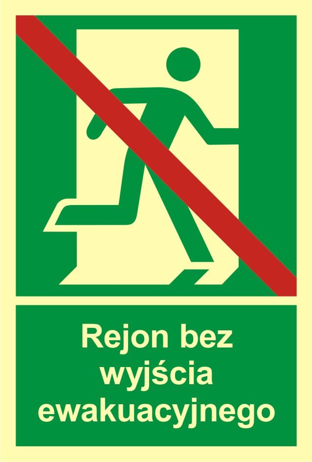 Znak ewakuacyjny Rejon bez wyjścia ewakuacyjnego