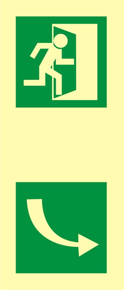 Znak ewakuacyjny Kierunek otwarcia drzwi 2