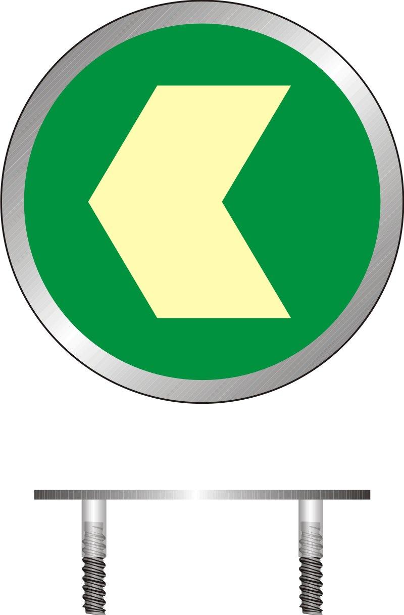 Znak ewakuacyjny Kierunek drogi ewakuacyjnej - znacznik podłogowy do konstrukcji ażurowych