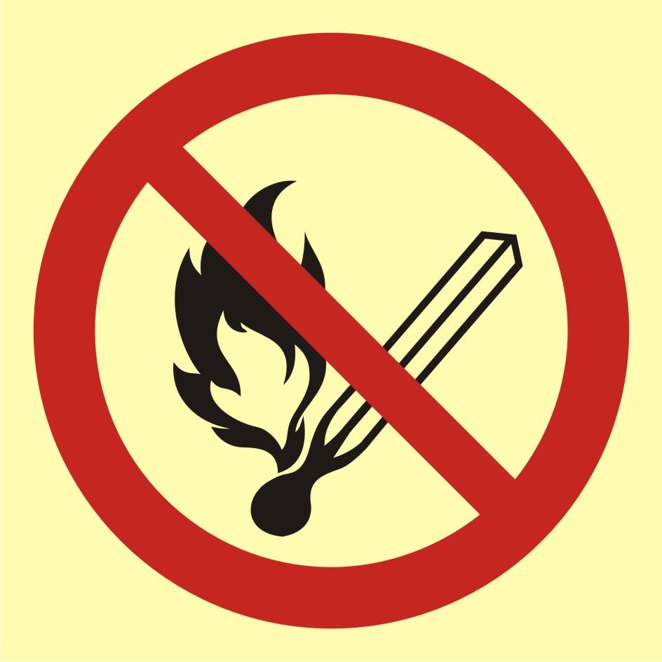 Znak przeciwpożarowy Zakaz używania otwartego ognia - palenie tytoniu zabronione