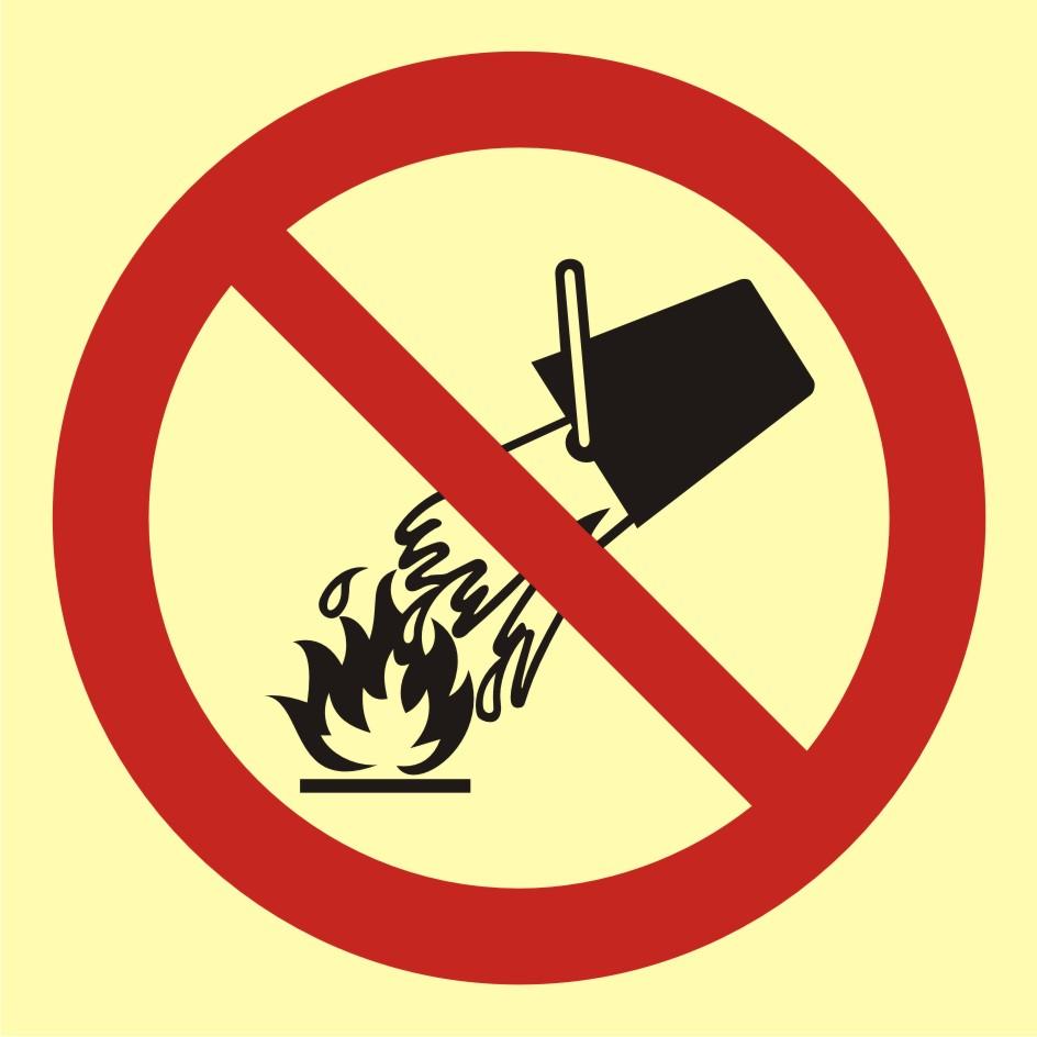 Znak przeciwpożarowy Zakaz gaszenia wodą