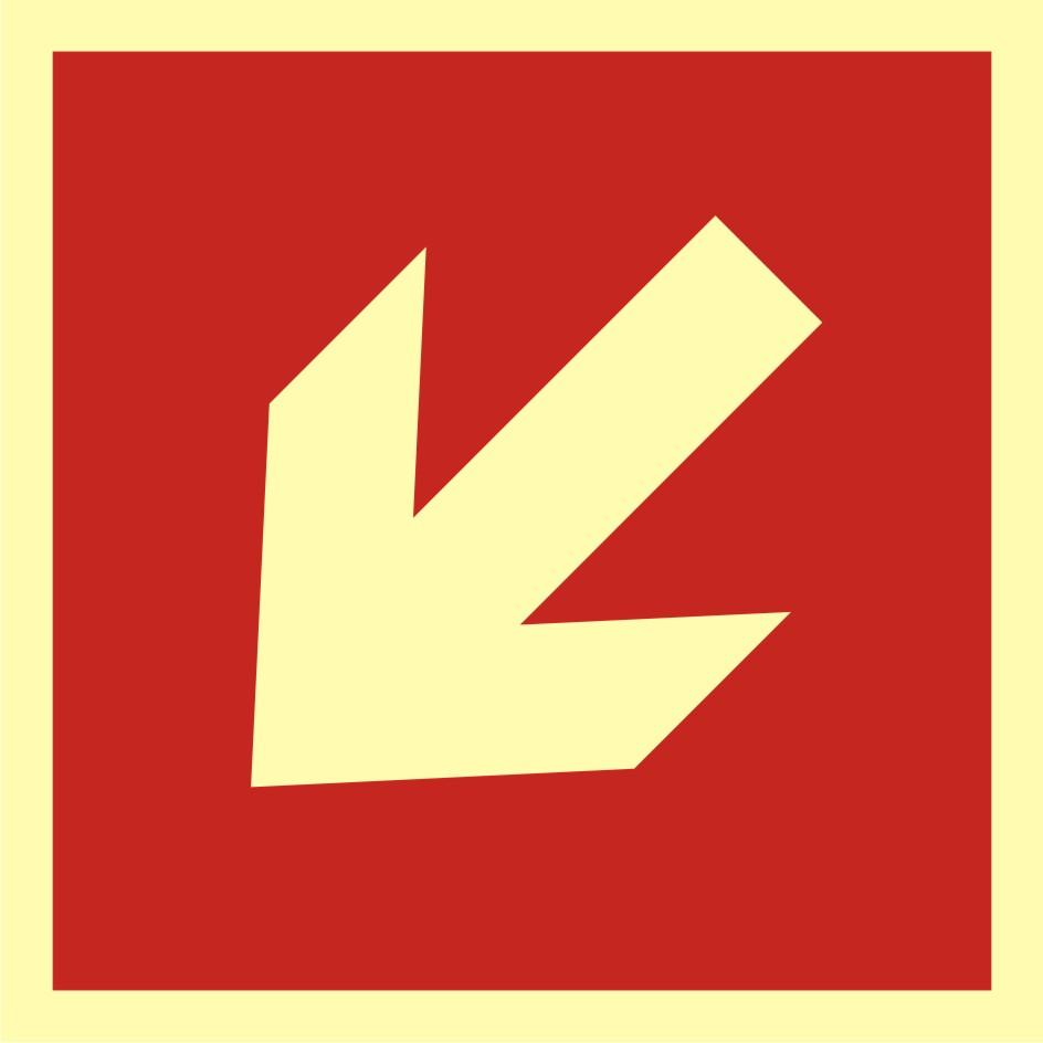 Znak przeciwpożarowy Kierunek do miejsca rozmieszczenia sprzętu pożarniczego lub urządzenia ostrzegającego 2