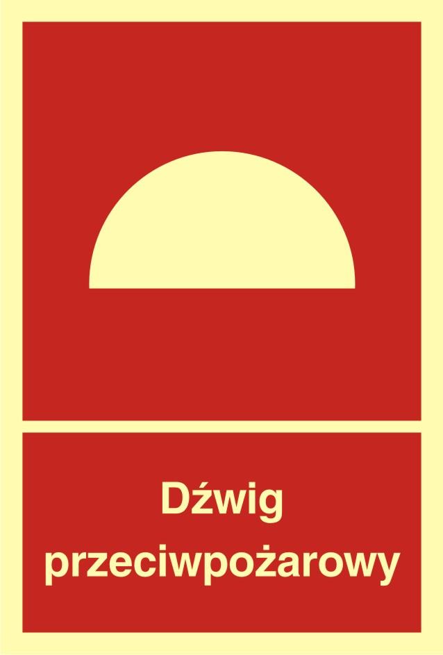 Znak przeciwpożarowy Dźwig przeciwpożarowy