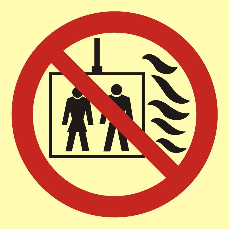 Znak przeciwpożarowy Nie używać dźwigu w przypadku pożaru 2
