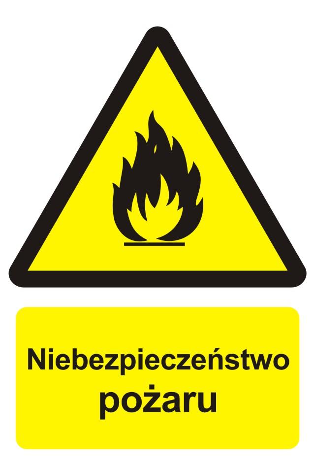 Znak przeciwpożarowy Niebezpieczeństwo pożaru - materiały łatwopalne2