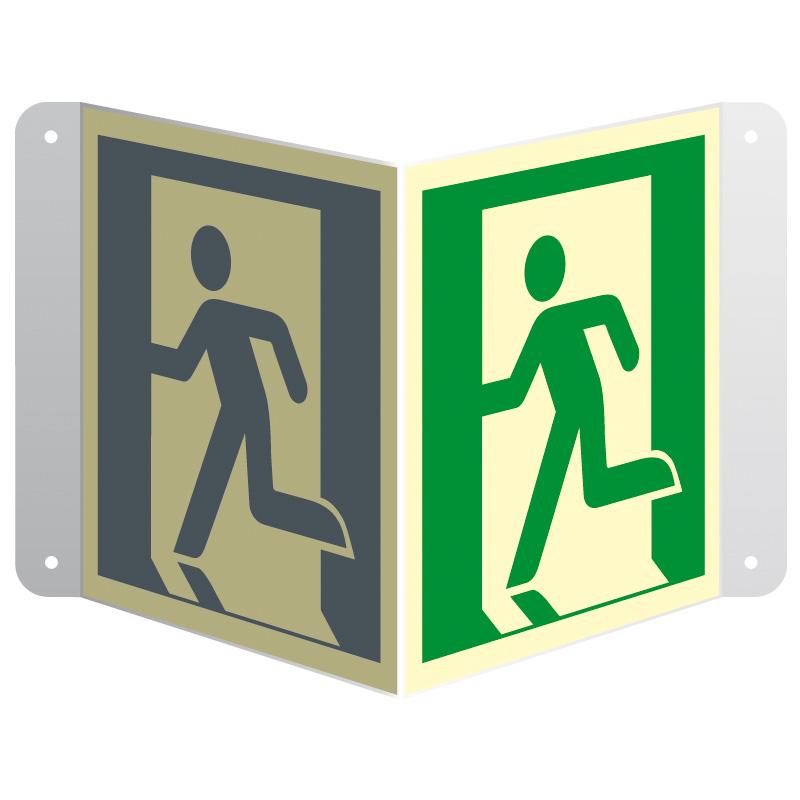 Znak 3D wyjście ewakuacyjne (lewostronne) przestrzenny