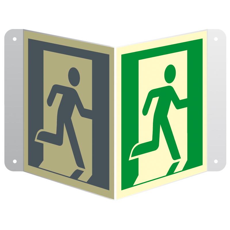 Znak 3D wyjście ewakuacyjne (prawostronne) przestrzenny