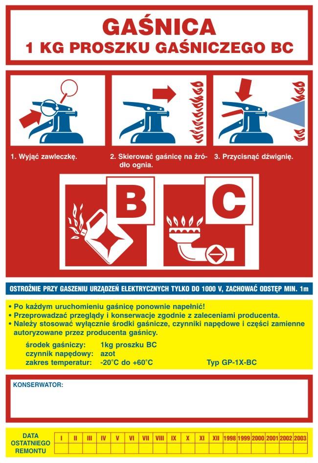 Naklejka na gaśnicę - gaśnica 1 kg proszku gaśniczego BC