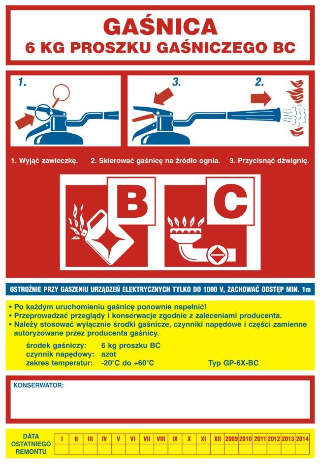 Naklejka na gaśnicę - gaśnica 6 kg proszku gaśniczego BC 3