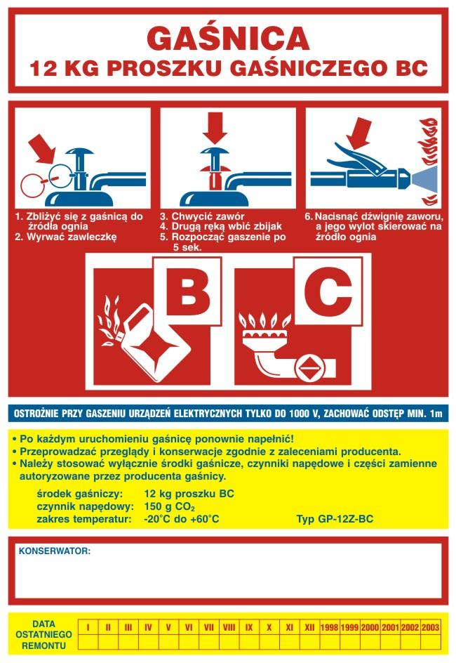 Naklejka na gaśnicę - gaśnica 12 kg proszku gaśniczego BC