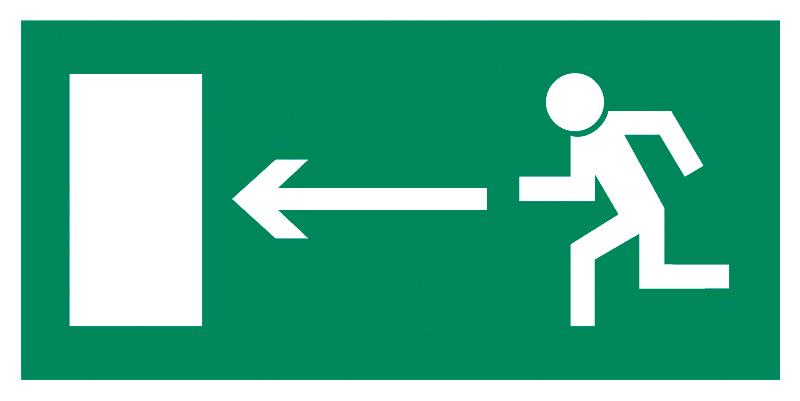 Znak Piktogram na lampę - Kierunek do wyjścia drogi ewakuacyjnej w lewo