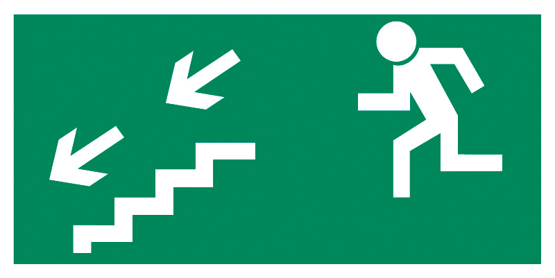 Znak Piktogram na lampę - Kierunek do wyjścia drogi ewakuacyjnej schodami w dół w lewo