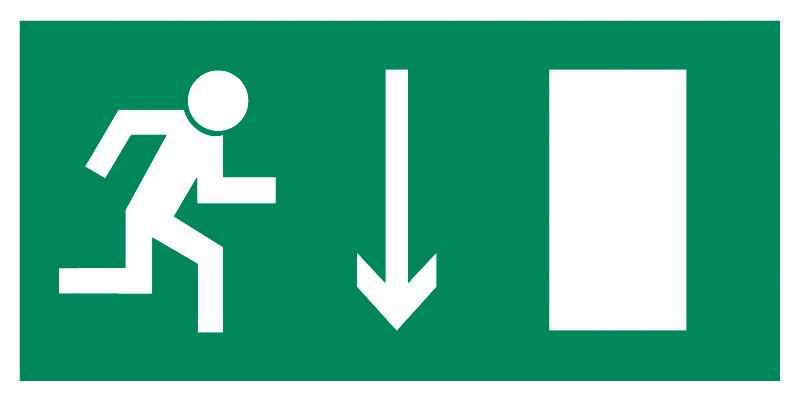 Znak Piktogram na lampę - Kierunek do wyjścia drogi ewakuacyjnej w dół