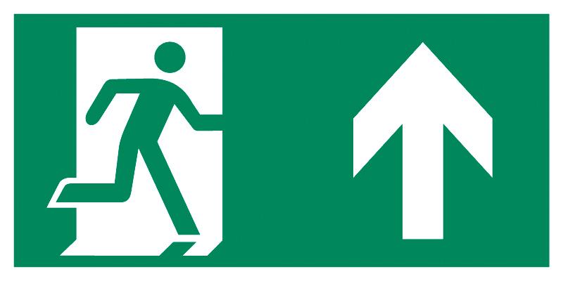 Znak Piktogram na lampę - Kierunek do drzwi ewakuacyjnych w górę