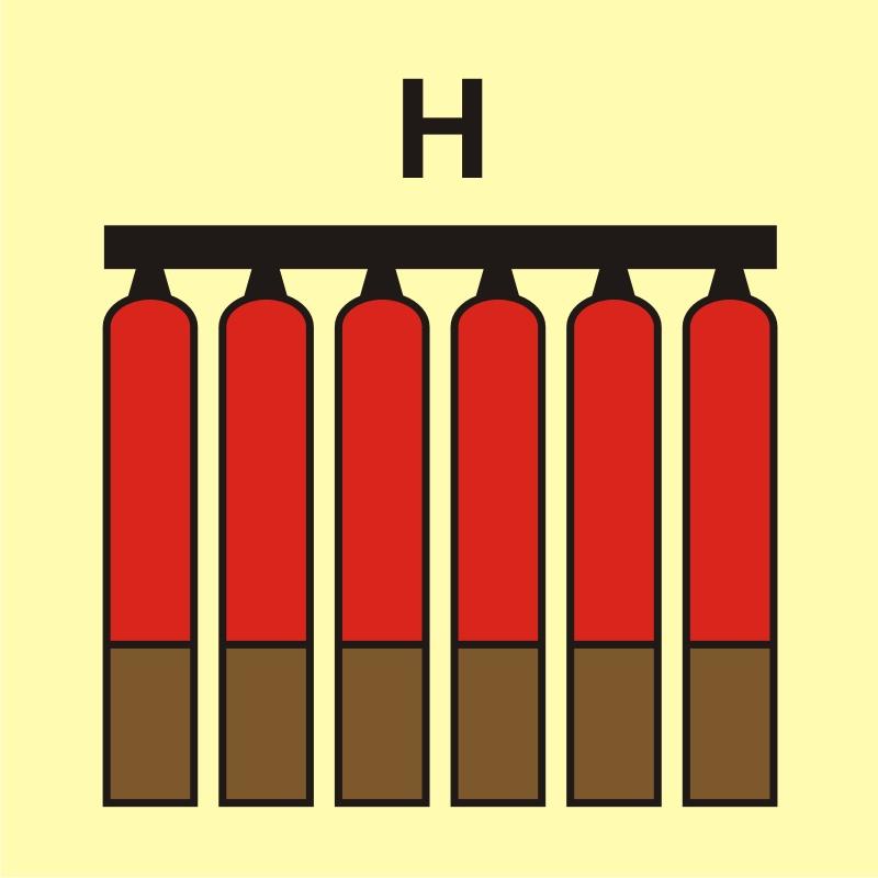 Zamocowana bateria gaśnicza (H - gaz)