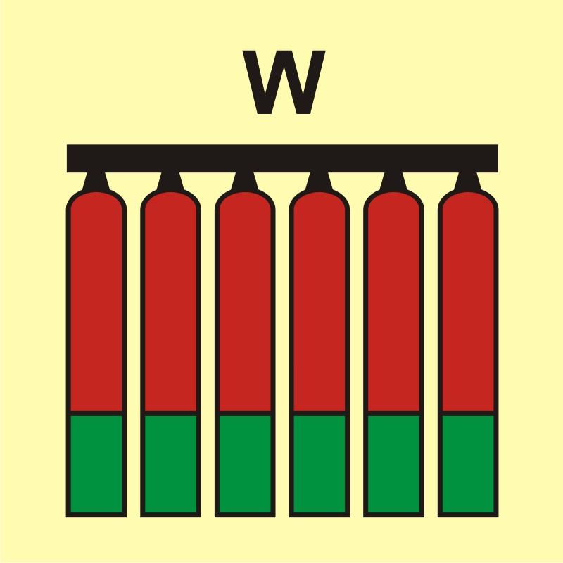 Zamocowana bateria gaśnicza (W - woda)