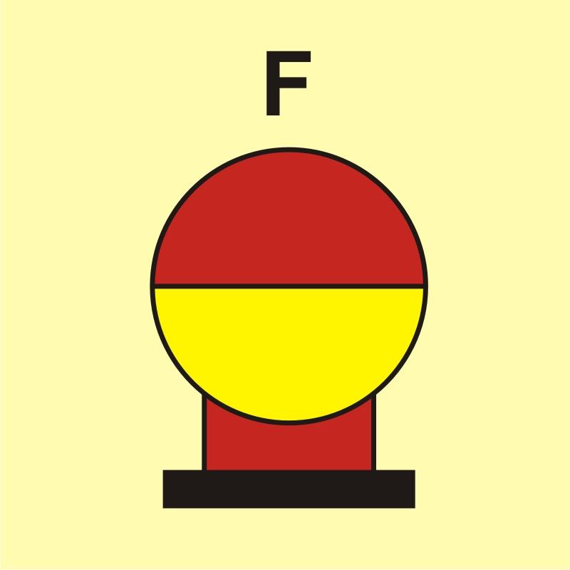 Zamocowana butla gaśnicza umieszczona w zabezp. (F - piana)