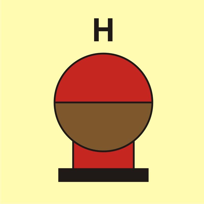 Zamocowana butla gaśnicza umieszczona w zabezp. (H - gaz)