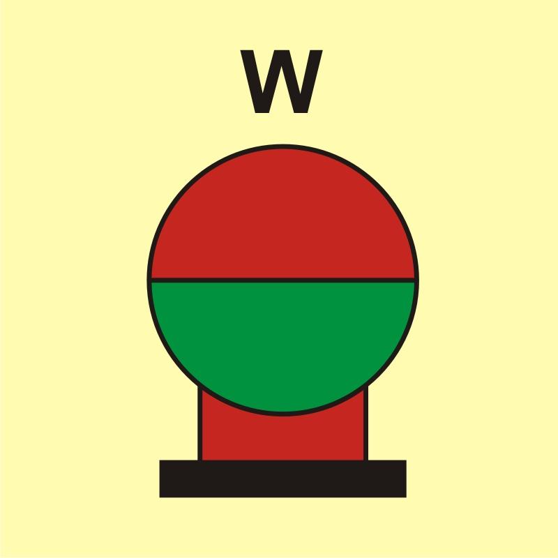 Zamocowana butla gaśnicza umieszczona w zabezp. (W - woda)