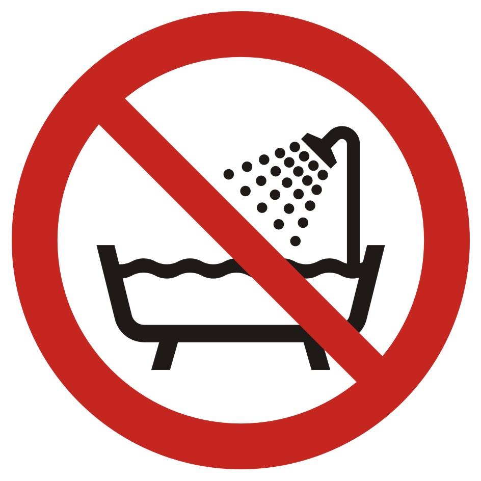 Zakaz używania urządzenia w wannie, pod prysznicem i w zbiornikach wypełnionych wodą