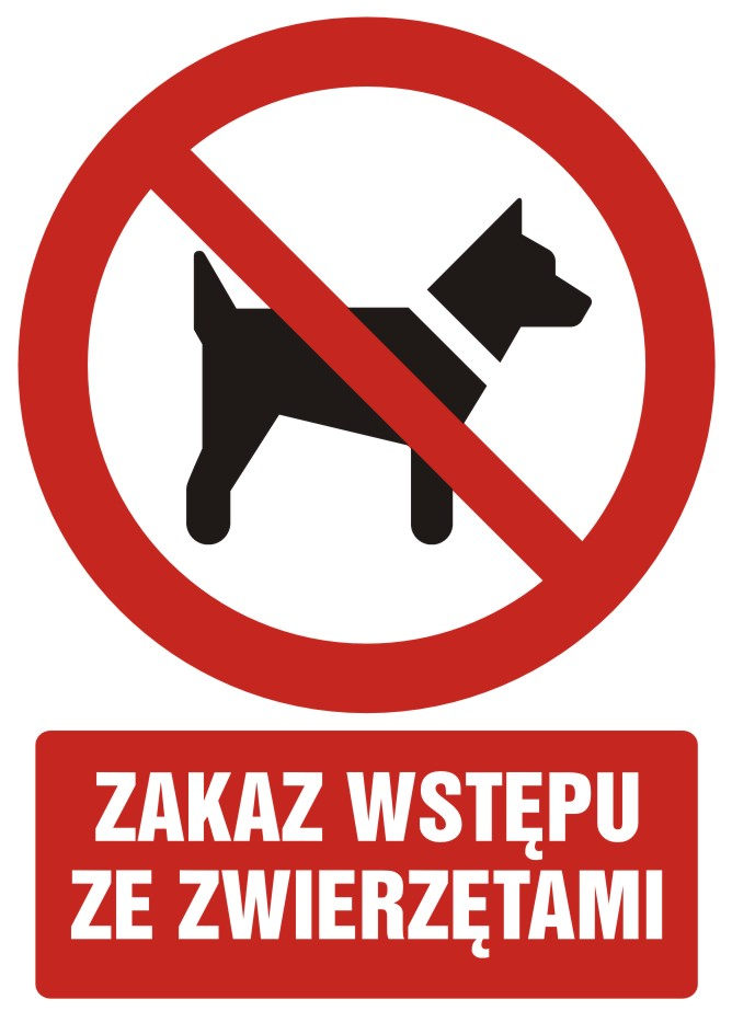 Zakaz wstępu ze zwierzętami z opisem
