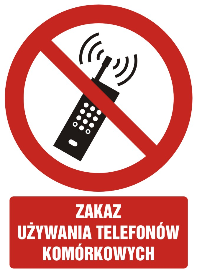 Zakaz używania telefonów komórkowych z opisem