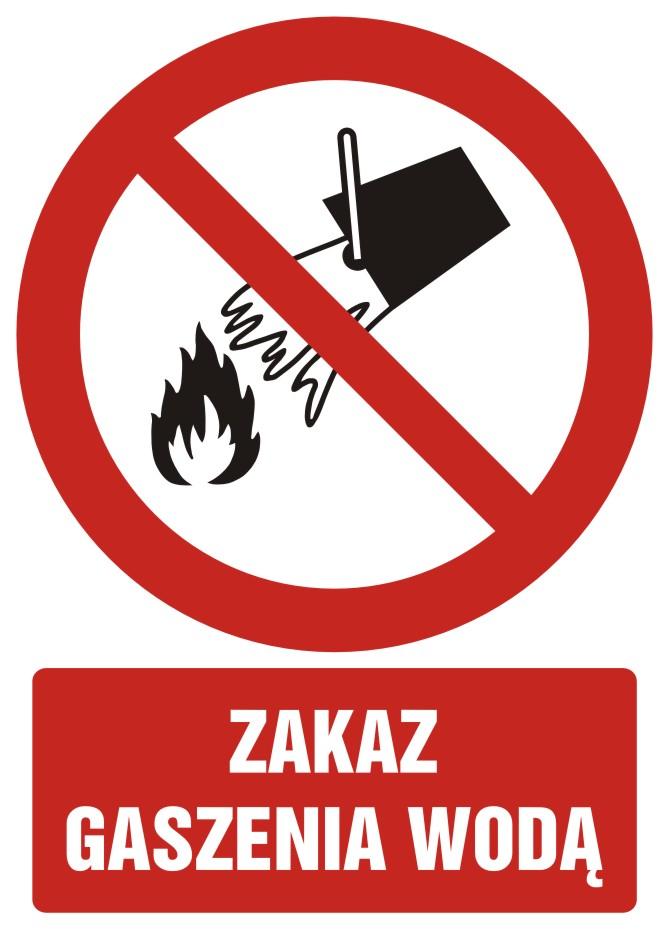 Zakaz gaszenia wodą z opisem