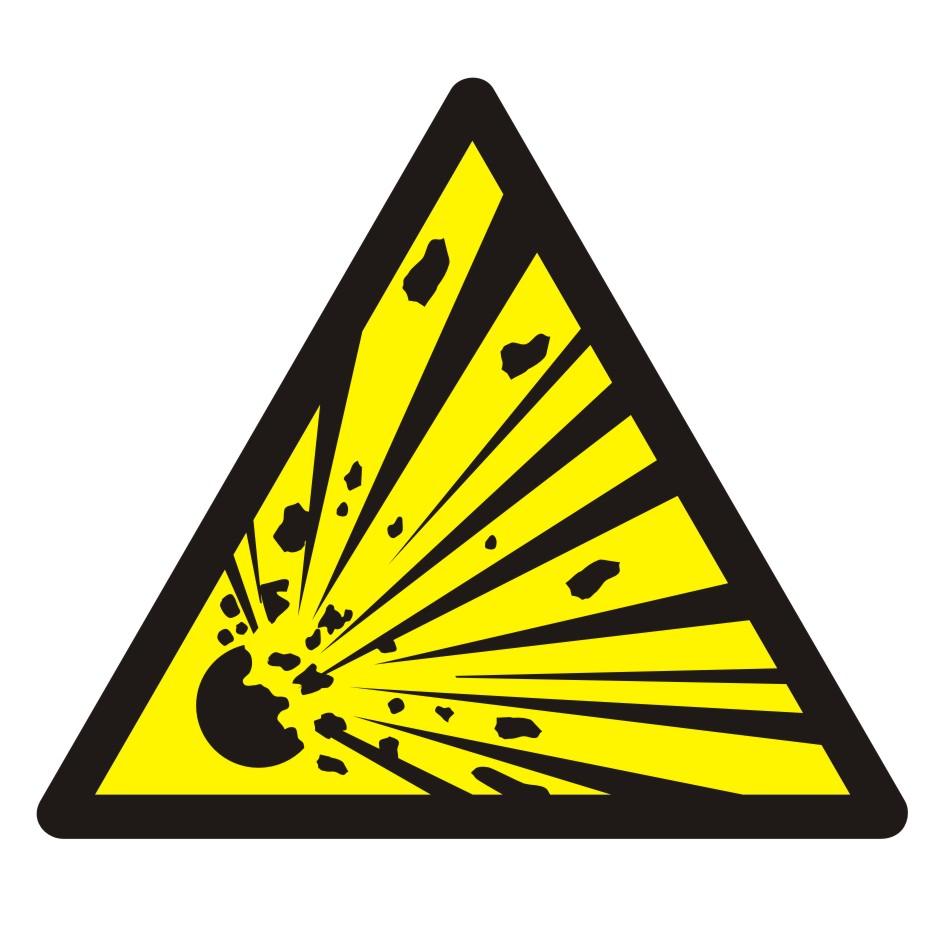 Znak Ostrzeżenie przed niebezpieczeństwem wybuchu