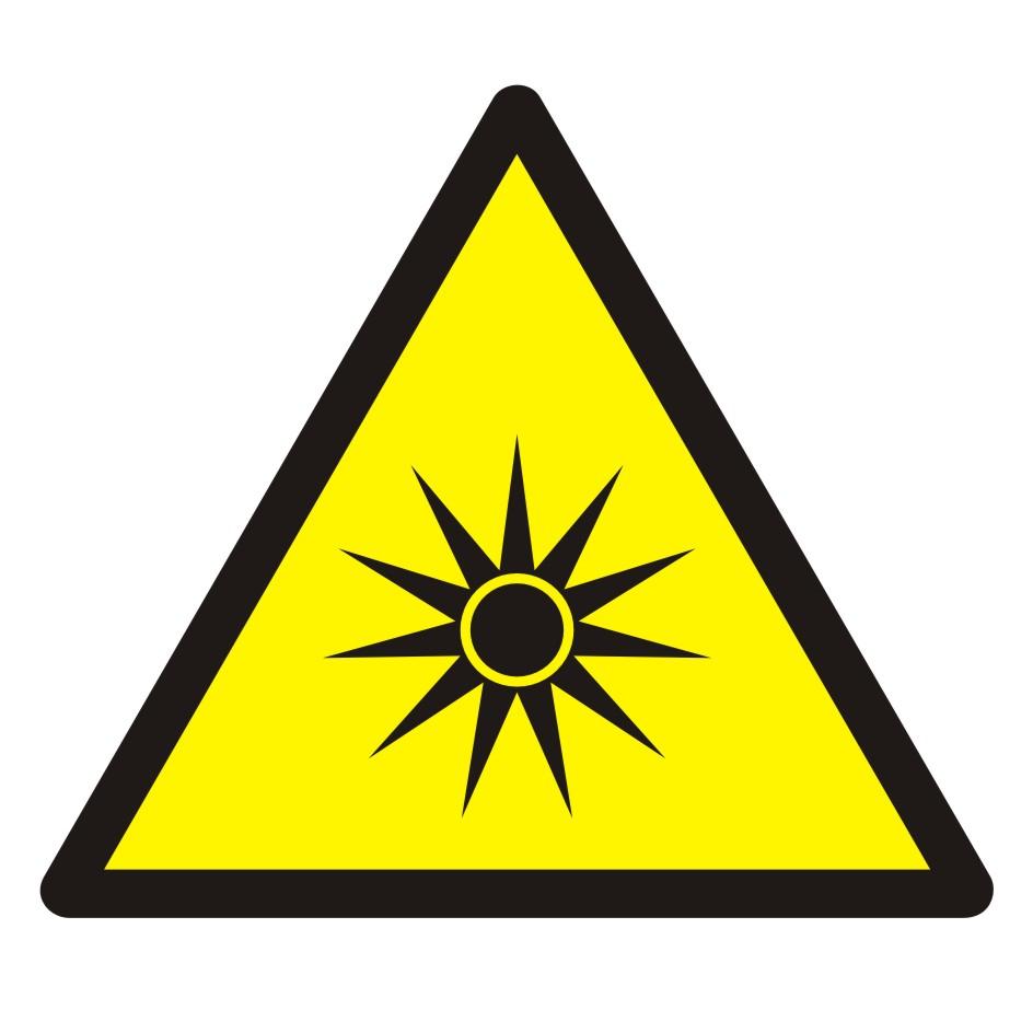 Znak Ostrzeżenie przed promieniowaniem optycznym