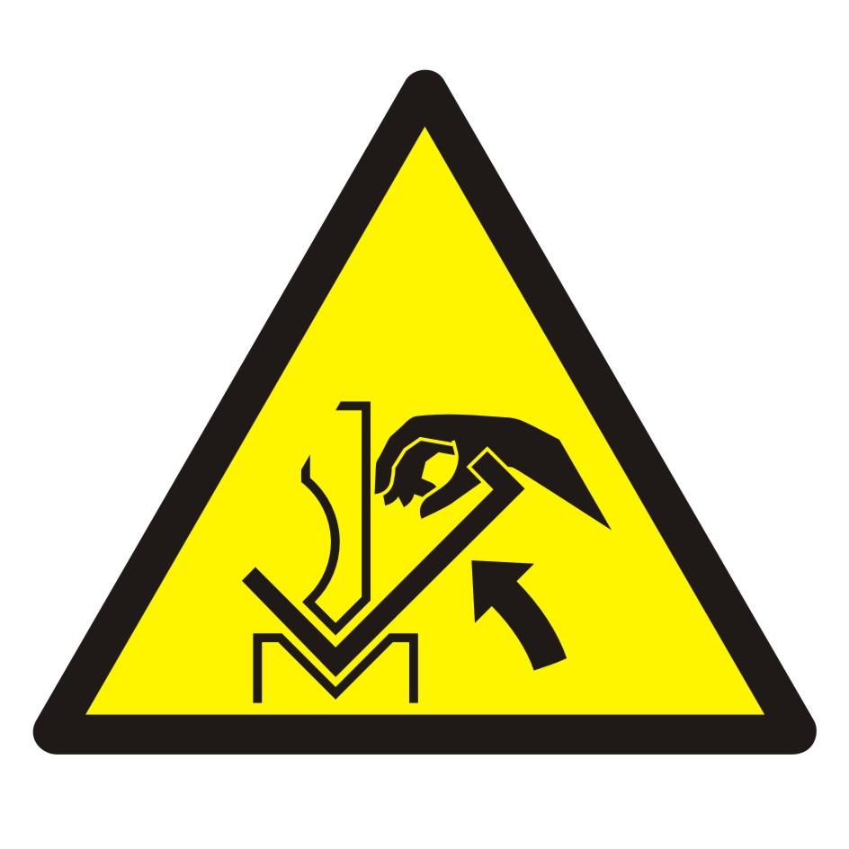 Znak Ostrzeżenie przed zgnieceniem dłoni między prasą i materiałem