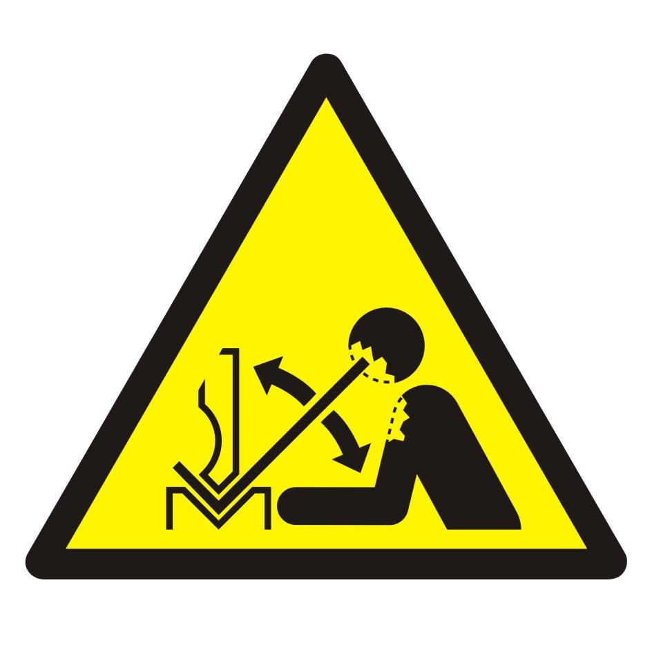 Znak Ostrzeżenie przed szybkim ruchem materiału w giętarce